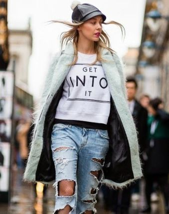 Image result for fishnet tights ripped jeans outfit