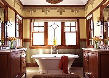 I love the simple luxury of this Mission-inspired bathroom, set in a 1904 bungalow on the outskirts of Chicago.