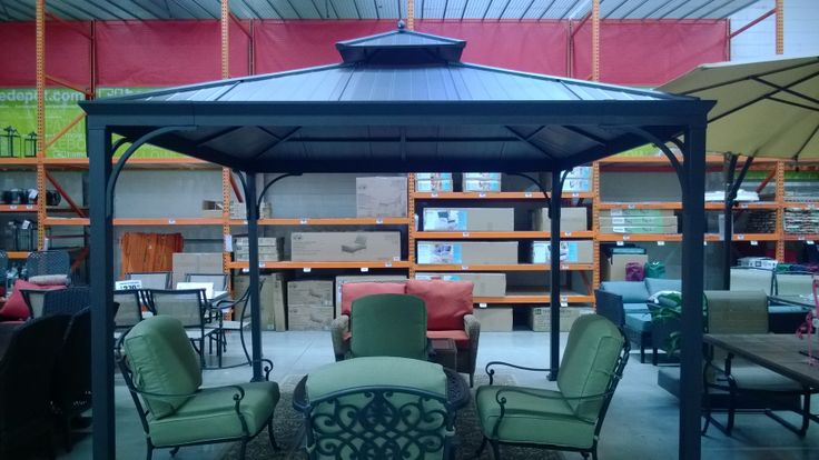 10x10 Metal Roof Gazebo Assembled Hampton Bay Harper