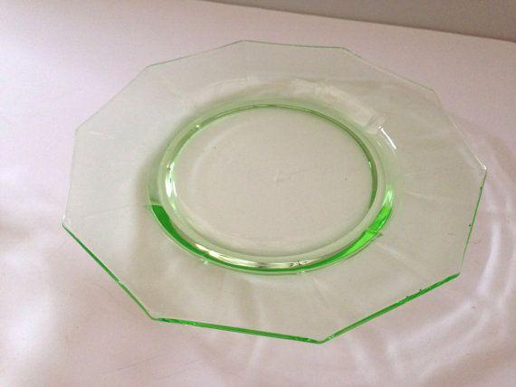 Green Depression Glass Decagon Bread Plate By Cambridge