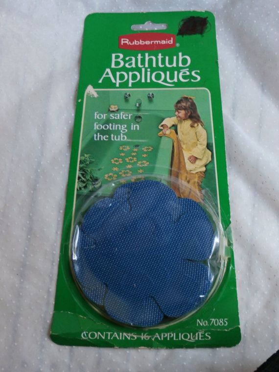 Blue Rubbermaid Bathtub Appliques Retro Non Slip Vinyl Vintage Flower Decor Appliques Blue