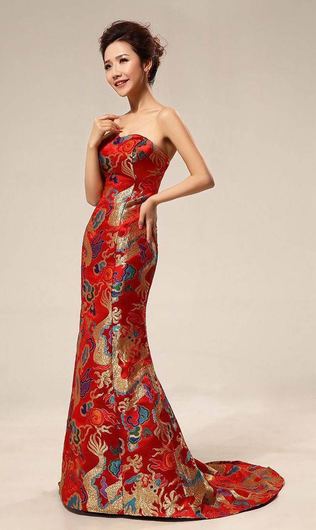 Red Dragon Silk Brocade Chinese Inspired Bridal Dress Gown
