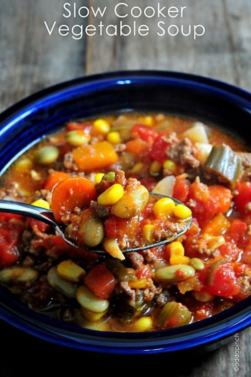 Slow Cooker Vegetable Soup: