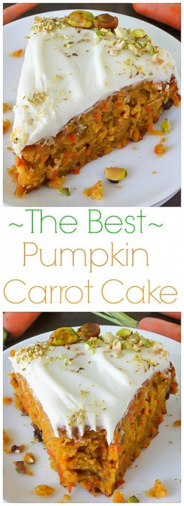 Pumpkin Carrot Cake with Cream Cheese Frosting – This is THE BEST Carrot Cake I've ever had!