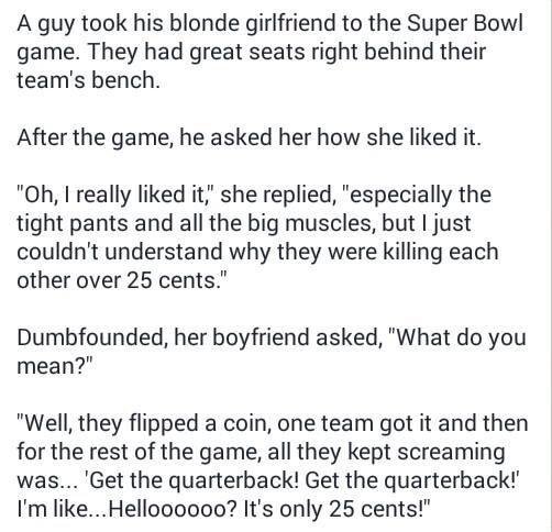 Blonde Joke Get Quarterback