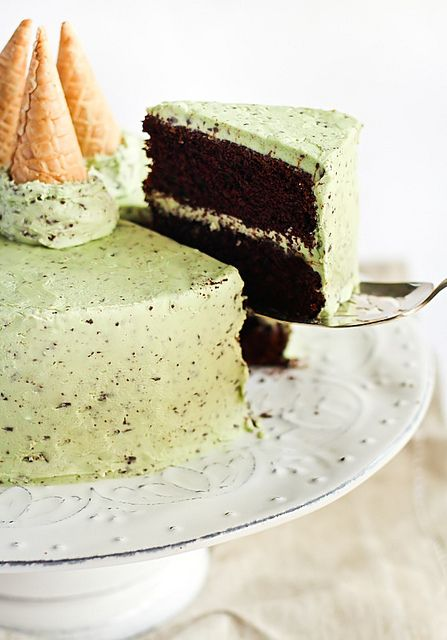 Mint Chocolate Chip Cake Recipe- love the little cones for decoration!