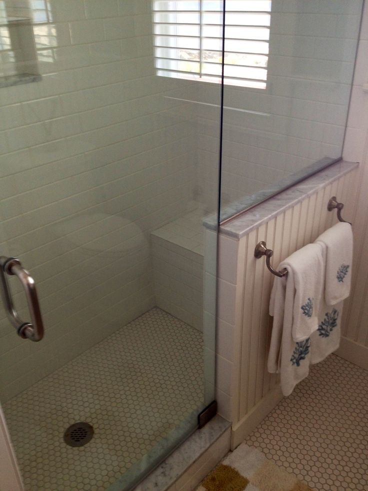 Tiled Shower With Half Wall And Seat Bathrooms