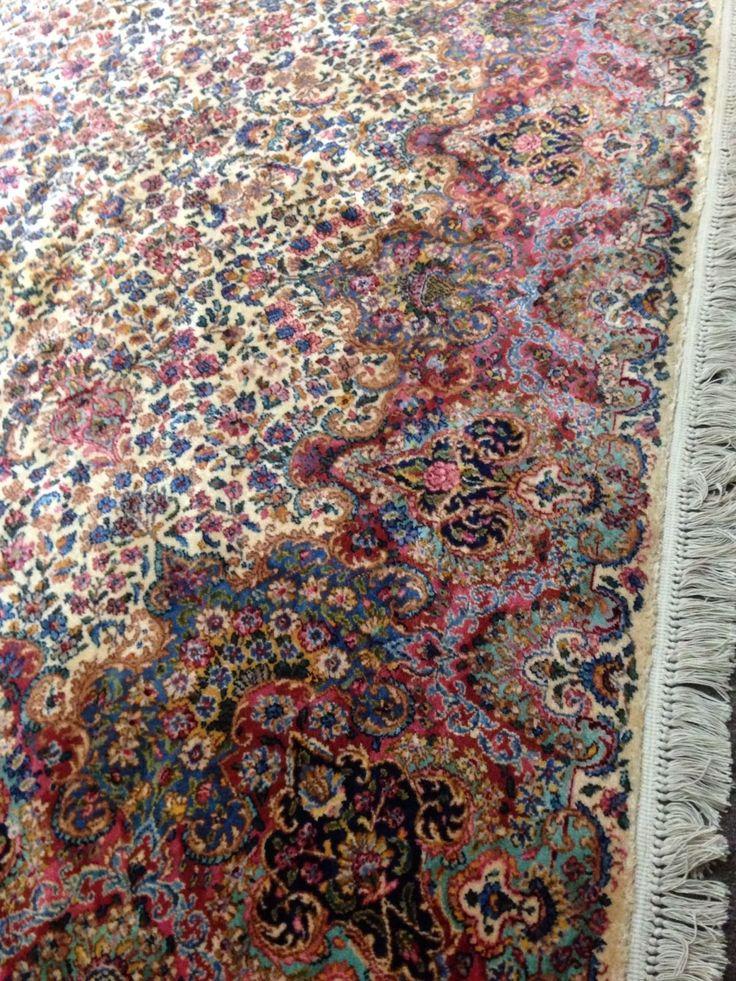 Karastan IVORY FLORAL KIRMAN JEWEL TONE 759 RUG 114 By 126 Long W Fringes Floral Jewel