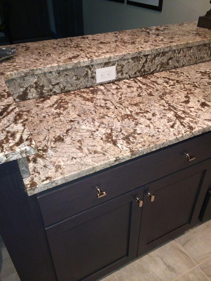 Bianco Antico Polished Granite Island And Raised Bar With Espresso Cabinets Visit Globalgranite