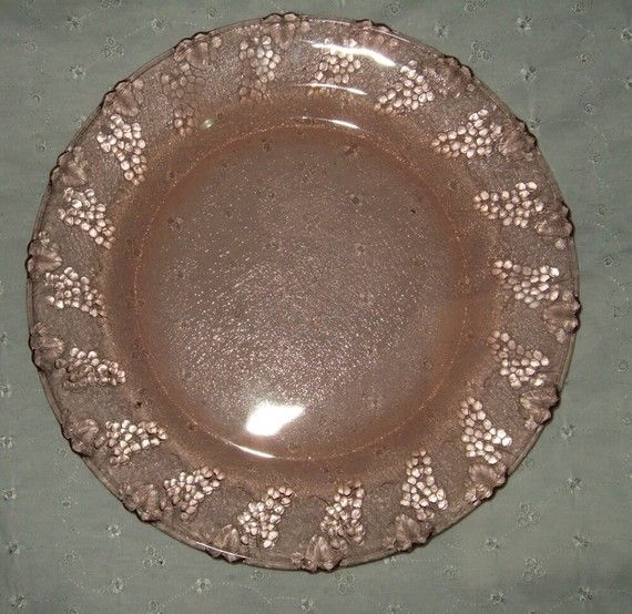 Pink Glass Plates With Grape Design Glass Carnival