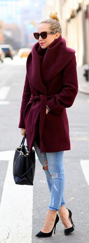 Play with color in your winter outerwear, like this deep merlot coat. (via Atlantic-Pacific):