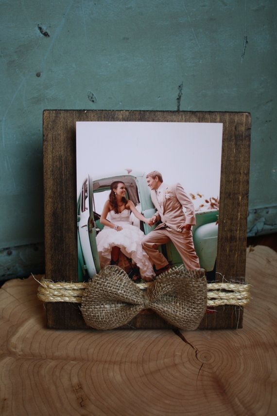 Rustic twine and burlap picture frame