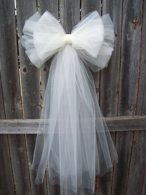 Tulle Pew Bow Tulle Wedding Formal Aisle Decor by OneFunDay, $13.00