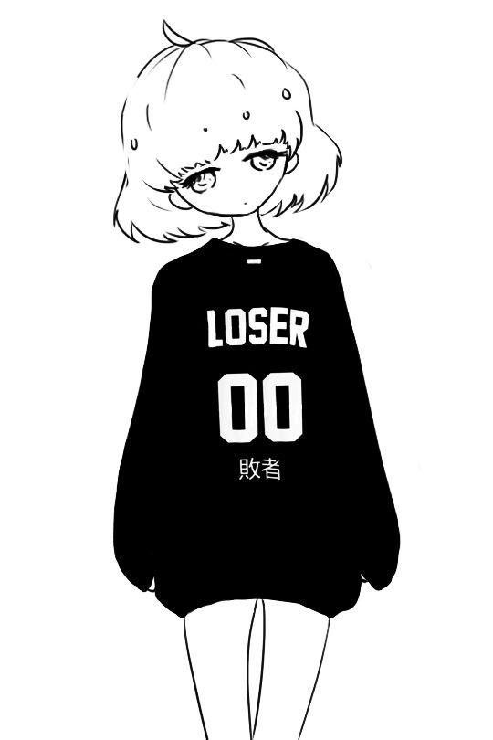 Girl And Outline Sad Drawing Black White Tumblr
