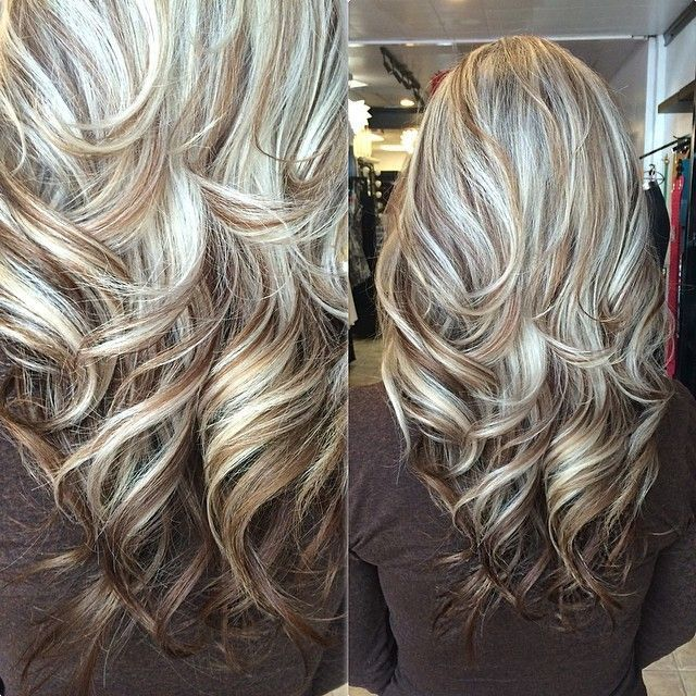 Long Layered Haircut In Light Blonde Highlights With Brown