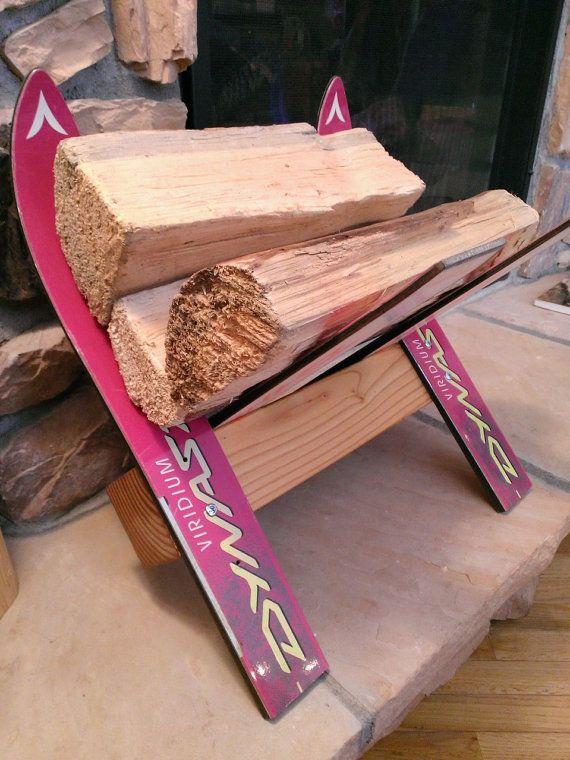 IndoorOutdoor Recycled Ski Firewood Rack Log Holder