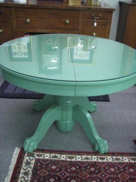 Round Claw Foot Oak Dining Table With Green Painted Finish 44 Diameter With Protective Glass