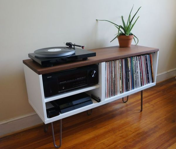 Mid Century Modern Record Console. Materials: BESTÅ shelf ...