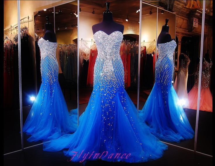 Tulle Prom Dresses 2016 Mermaid Royal Blue Sparkly Prom