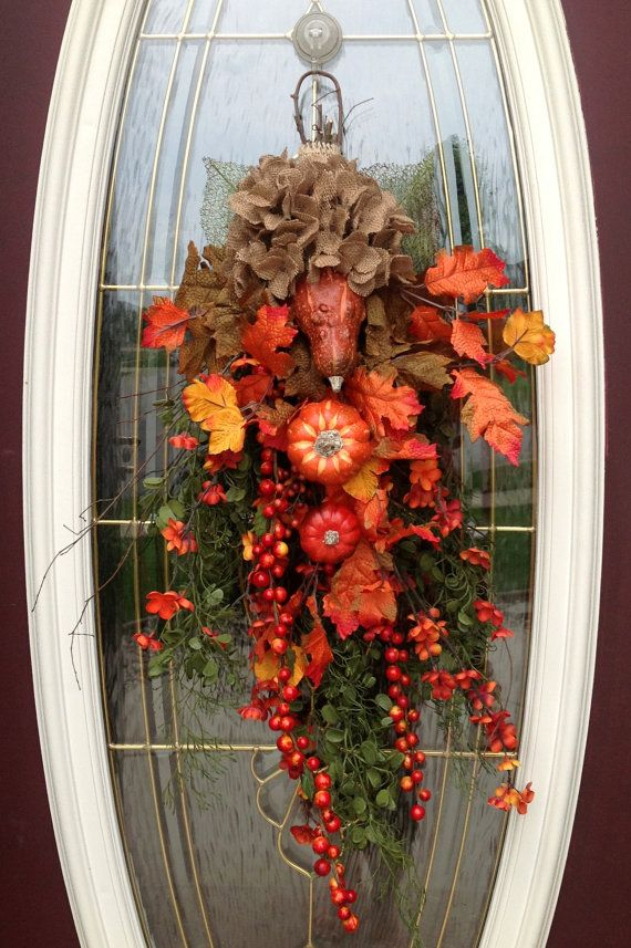 Fall Wreath Autumn Wreath Teardrop Vertical Door Swag