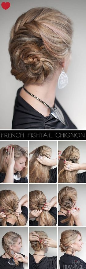 Hair Romance – French fishtail braided chignon hairstyle tutorial