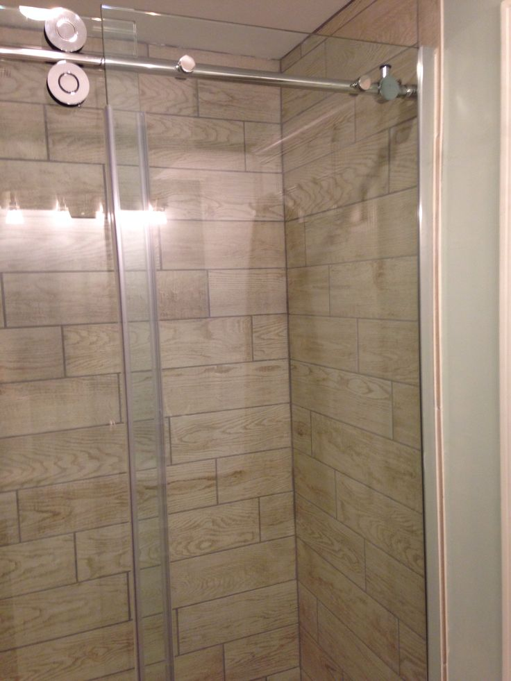 Wood Tile In Shower Stall Marazzi Home Depot Glass Door Is Allen Amp Roth Frameless Reno