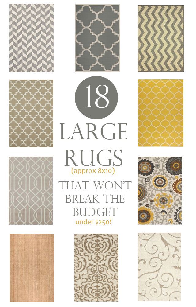 Large area rugs that wont break the budget. These are 8×10 rugs for under $250.