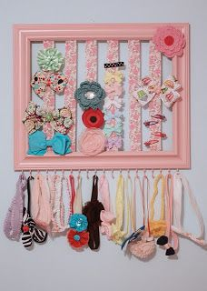 *Riches to Rags* by Dori: Thrift Store Frame Decorating Ideas… This would be perfect for my girls, they have so many hair