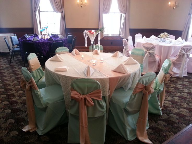 Mint Green Table Cloth With An Ivory Lace Overlay Also