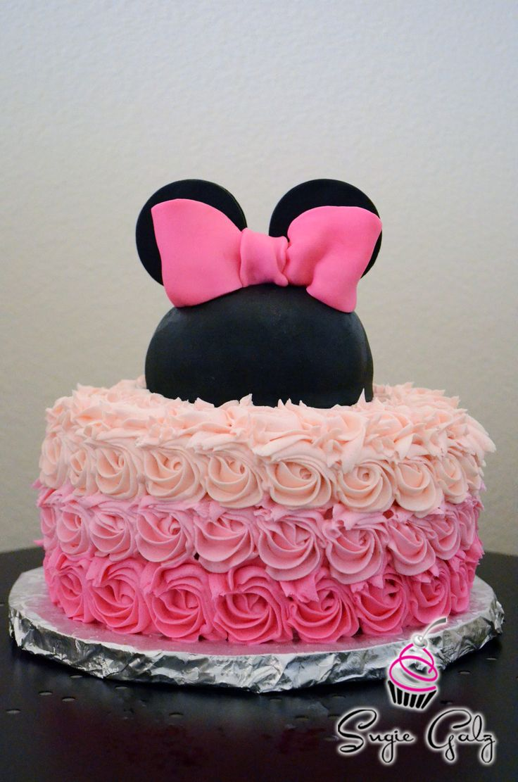 Pretty Pink Ombre Buttercream Minnie Mouse Birthday Cake by Sugie Galz in Austin