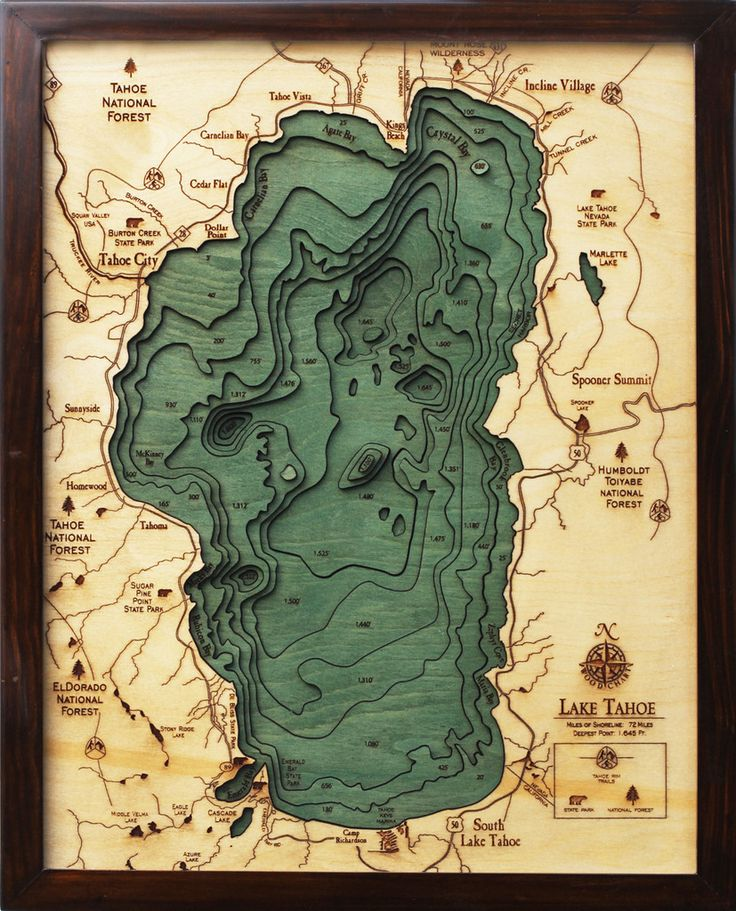 a bathymetric chart (the underwater equivalent of a topographic map) of Lake Tahoe. Laser cut out of wood  16″ x 20″ Lake Tahoe