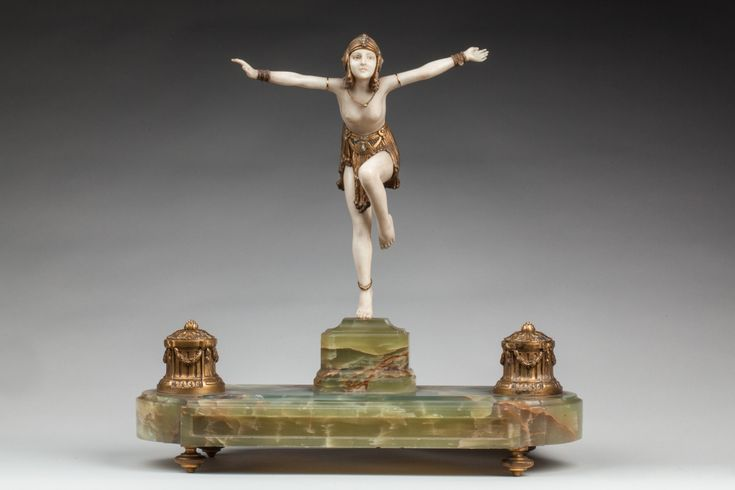 Marble D Bronze Base Ivory H Chiparus
