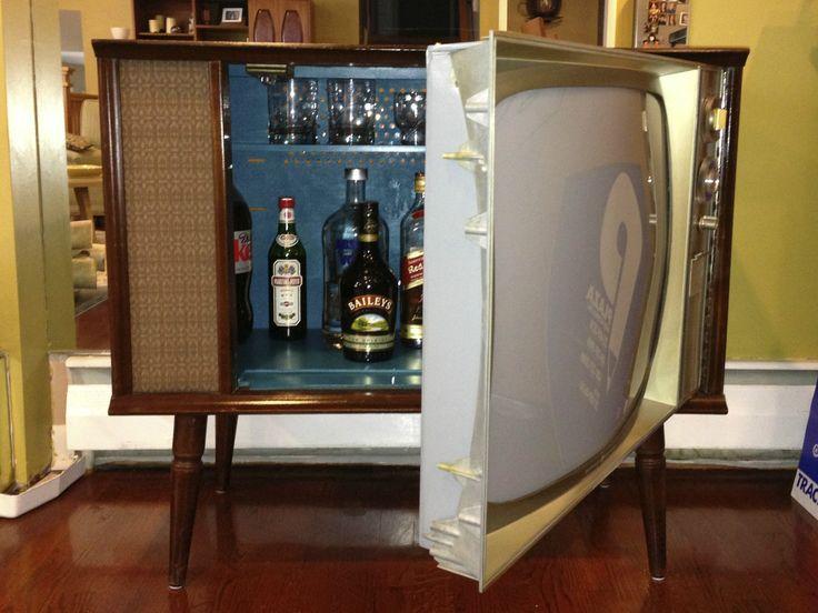 Vintage Tv Hidden Cocktail Bar Liquor Cabinet Ebay Mid