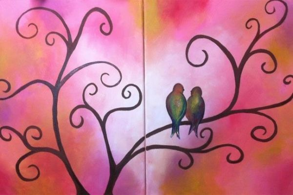 Cute birds in a tree canvas paint idea for wall decor ...