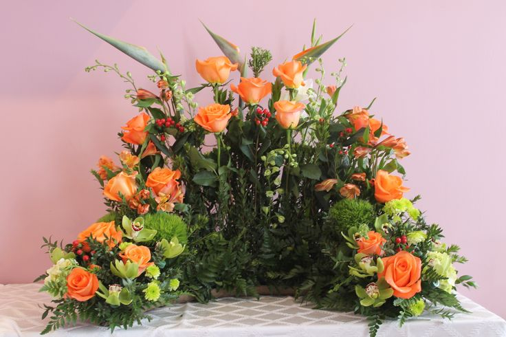 All Orange Urn Arrangement Created At Harbourview Flowers In Thunder Bay ON Funeral Flower
