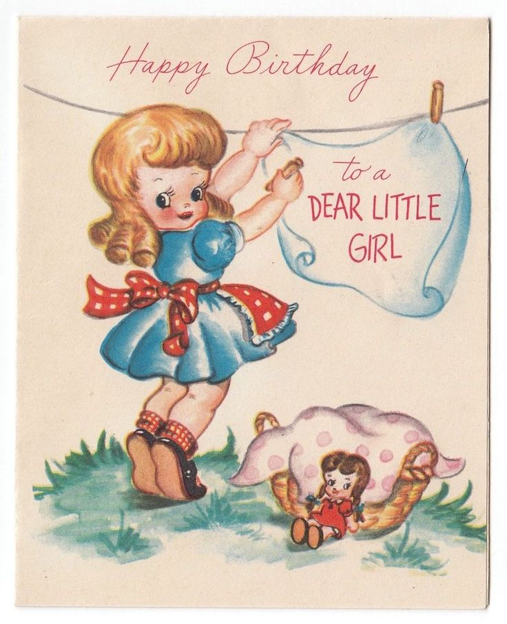 Vintage Greeting Card Cute Little Girl 1940s Clothesline Baby Doll L08 Vintage Birthday