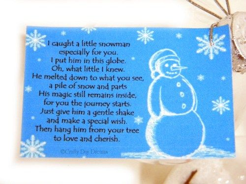Melted Snowman Christmas Ornament And Poem