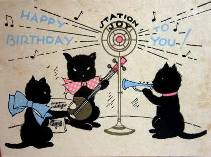Cute 1930s Art Deco Gold Gilded Birthday Card Showing 3 Black Cats Playing Music Into A Radio
