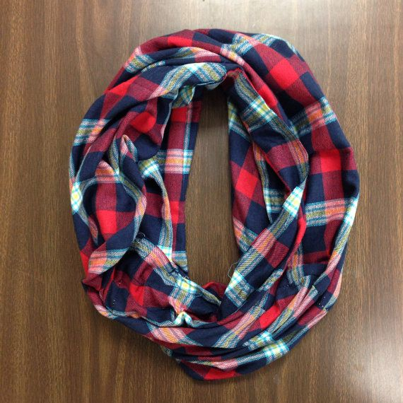 Flannel Infinity Scarf…make from second hand flannel plaid shirt? And could use buttons as accent!