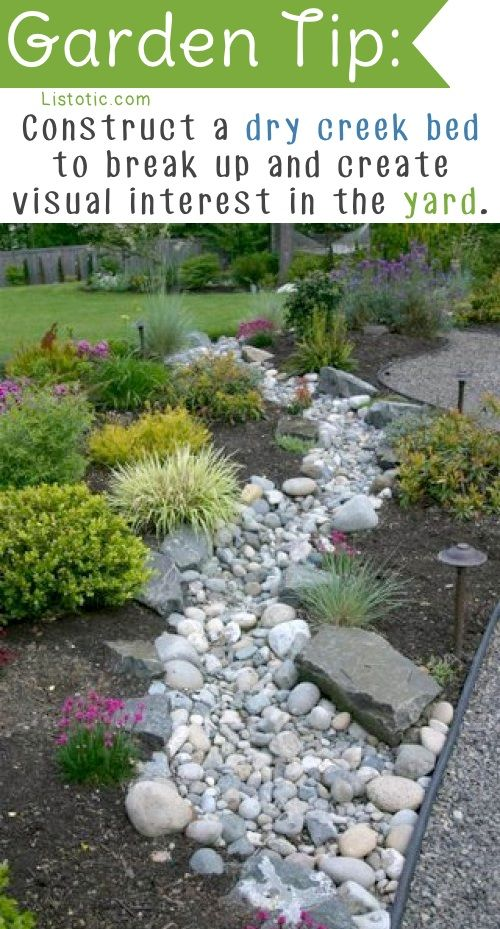 20 Insanely Clever Gardening Tips And Ideas…May be good to do this where the spring spills over…guide away from driveway.