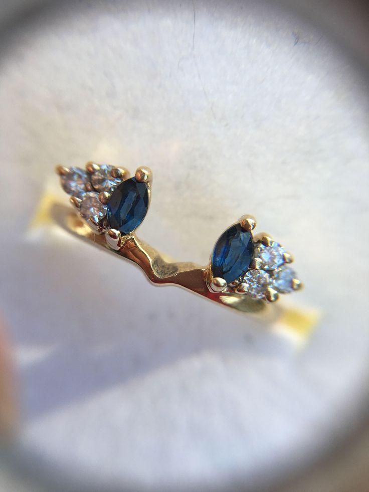 Marquise Blue Sapphire And Round Brilliant Diamond