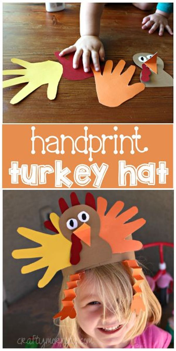 Handprint Turkey Hat Art Project #Thanksgiving craft for kids to make! | CraftyMorning.com: