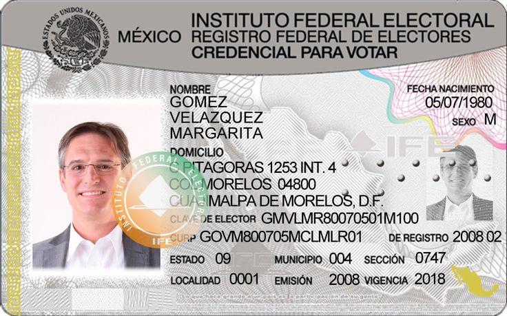 Mexican IFE Card New PSD Template Photoshop File Cosas Para Comprar Pinterest Spanish