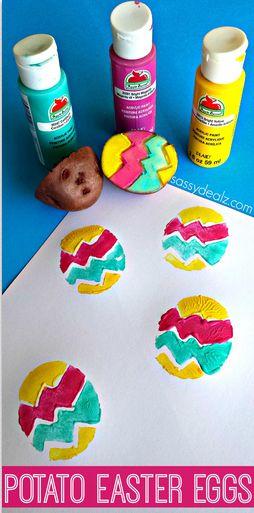 Easter Egg Potato Stamping Craft for Kids #easter craft for kids | CraftyMorning.com