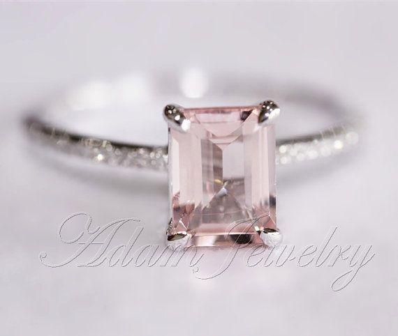 Pink Emerald Cut VS Morganite Ring SI/H Diamonds Wedding Ring 14K White Gold/ White Gold Engagement Ring/ Promise Ring/