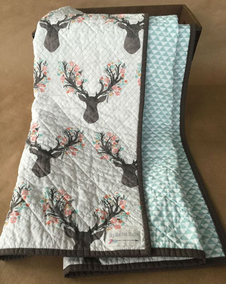 Modern Baby or Toddler Quilt/Play Mat for Baby Girl, Pink Floral Deer and Blue Triangles, Woodland Nursery or Rustic Nursery,