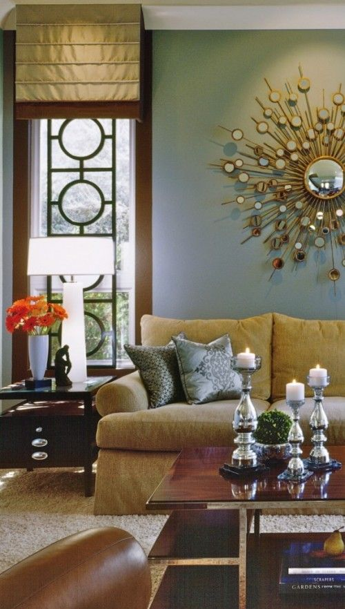 bronze, camel, tan, gold, silver, white, dark wood, gray blue wall, orange splas