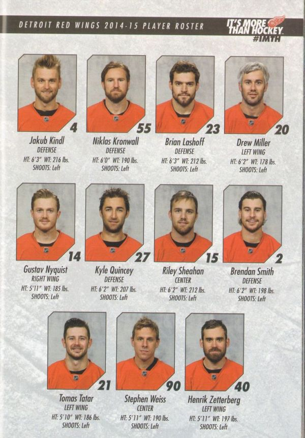 Detroit Red Wings 2014-2015 Player Roster. | Hockey ...