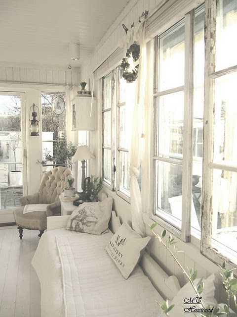 Living room Whitewashed Cottage chippy shabby chic french country rustic swedish decor idea. *** Repinned from Angela Puccioni