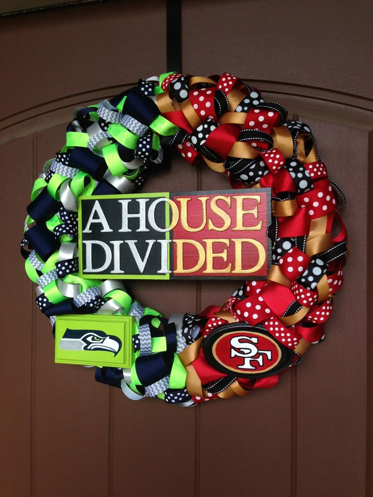 Seahawks 49ers Quot House Divided Quot Ribbon Wreath All Hand